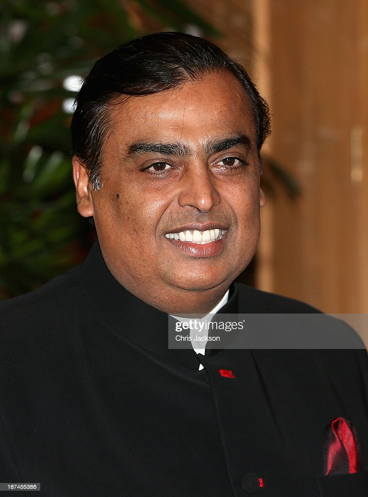<a gi-track='captionPersonalityLinkClicked' href=/galleries/search?phrase=Mukesh+Ambani&family=editorial&specificpeople=552252 ng-click='$event.stopPropagation()'>Mukesh Ambani</a> at the British Asian Trust Reception on day 4 of an official visit to India on November 9, 2013 in Mumbai, India. This will be the Royal couple's third official visit to India together and their most extensive yet, which will see them spending nine days in India and afterwards visiting Sri Lanka in order to attend the 2013 Commonwealth Heads of Government Meeting.