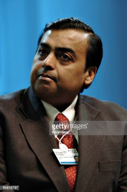 Mukesh Ambani chairman and managing director of Reliance Industries participates in a seminar during opening day of the World Economic Forum in Davos...