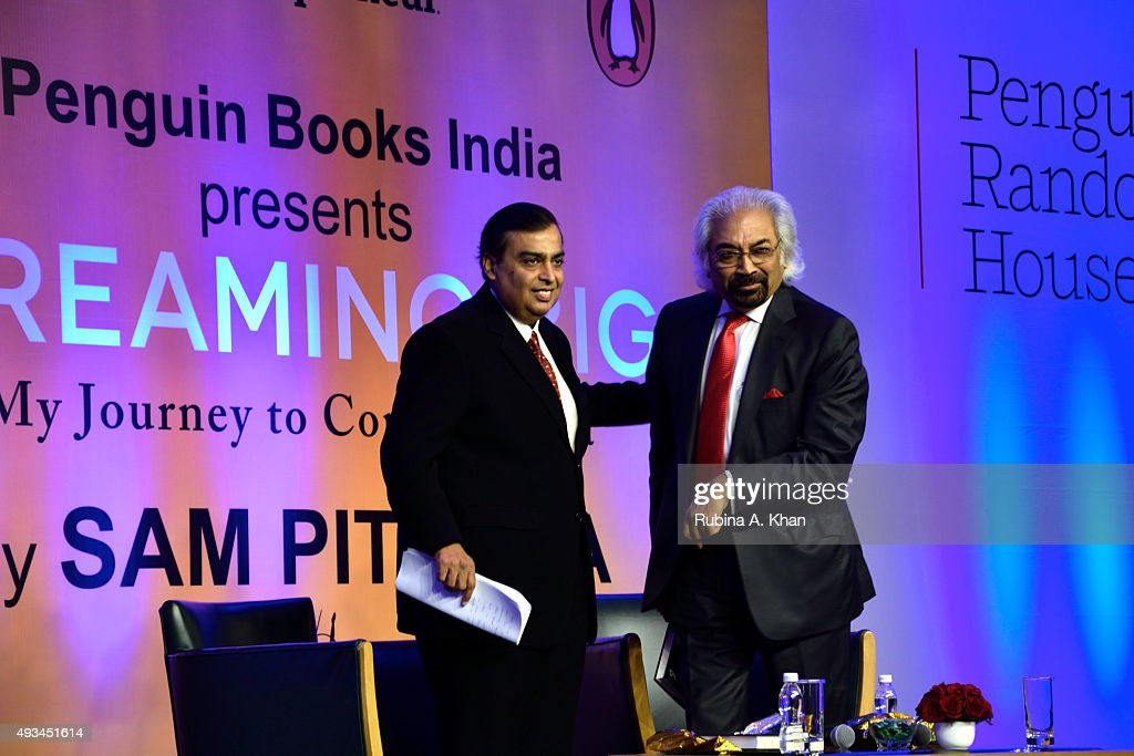 <a gi-track='captionPersonalityLinkClicked' href=/galleries/search?phrase=Mukesh+Ambani&family=editorial&specificpeople=552252 ng-click='$event.stopPropagation()'>Mukesh Ambani</a>, Chairman & Managing Director of Reliance released telecom inventor and global entrepreneur, Sam Pitroda's autobiography, Dreaming Big: My Journey to Connect India, published by Penguin Random House at the Trident Hotel on October 20, 2015 in Mumbai, India.