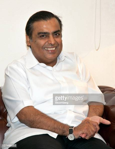 Mukesh Ambani chairman of Reliance Industries Ltd attends a meeting with Robert Dudley chief executive officer of BP Plc and Anand Sharma India's...