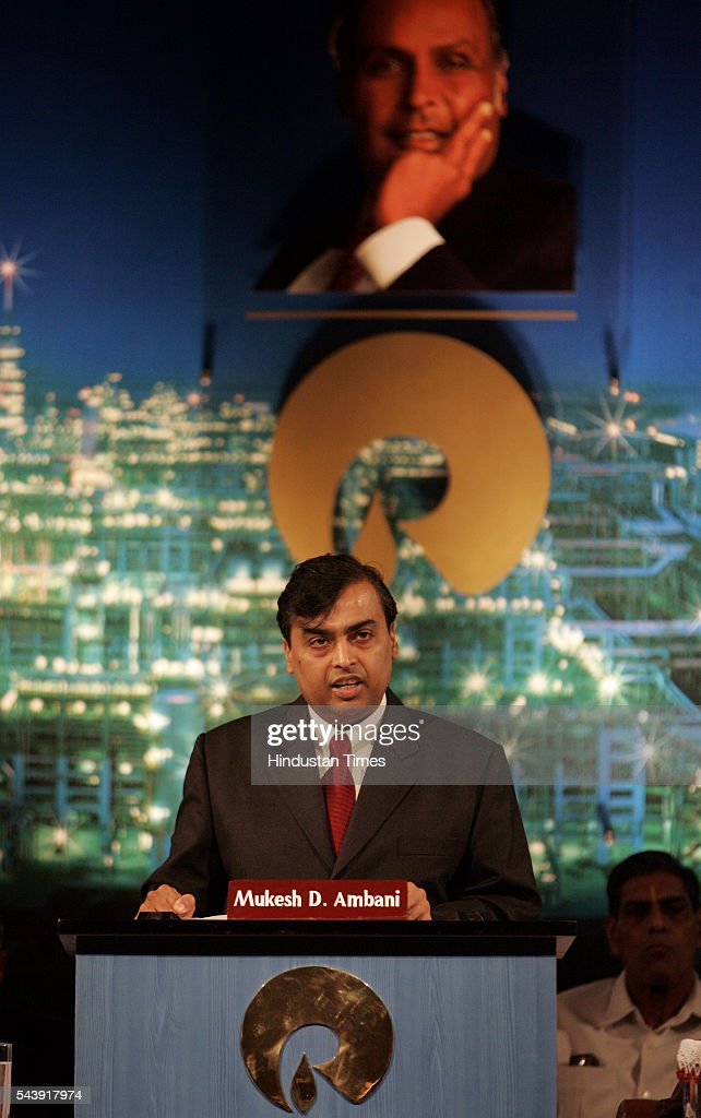 Mukesh Ambani, chairman of Reliance Industris Ltd., speaks during company's annual general meeting at Birla Matoshri Auditorium.