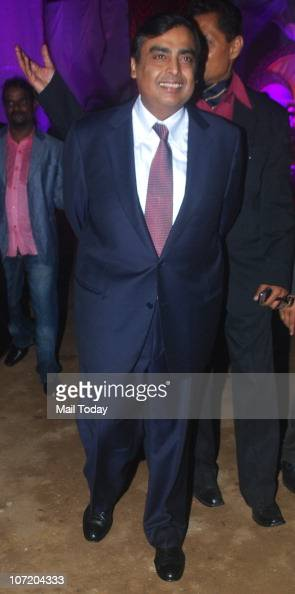 Mukesh Ambani during politician Narayan Rane's son's wedding in Mumbai on November 28 2010