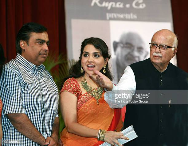 Mukesh Ambani LKAdvani and Saina NC during Nana Chudasama's Book History on Banner launch in Mumbai on Thursday June 17 2010