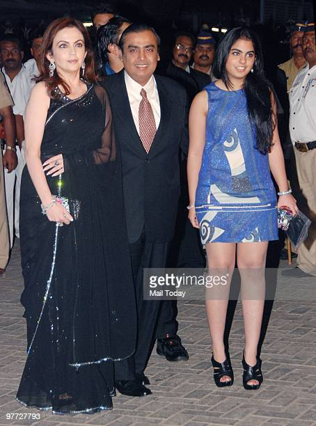 Mukesh and Neeta Ambani with daughter Isha at the IPL opening party in Mumbai on March 11 2010