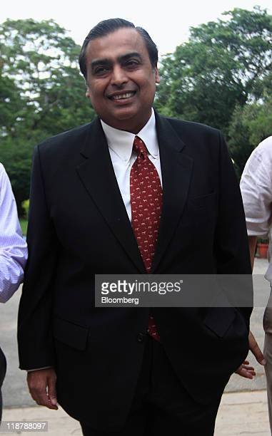 Mukesh D Ambani chairman of Reliance Industries Ltd arrives for the Ajay Mushran Memorial Lecture in New Delhi India on Sunday July 10 2011 Ambani...
