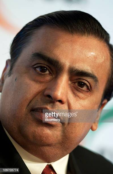 Mukesh D Ambani chairman of Reliance Industries Ltd attends the Federation of Indian Chambers of Commerce and Industry Annual General Meeting in New...