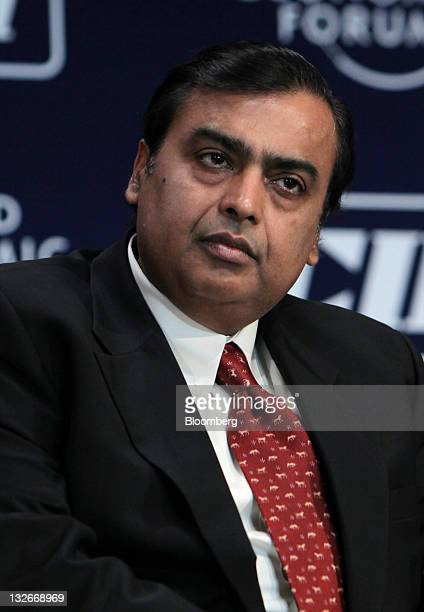 Mukesh D Ambani chairman of Reliance Industries Ltd attends the World Economic Forum India Economic Summit 2011 in Mumbai India on Sunday Nov 13 2011...