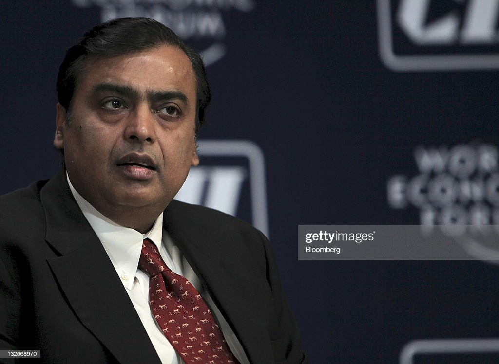 Mukesh D. Ambani, chairman of Reliance Industries Ltd., attends the World Economic Forum India Economic Summit 2011 in Mumbai, India, on Sunday, Nov. 13, 2011. The annual summit shifted to the country's financial capital this year after being held in Delhi for 26 years. Photographer: Adeel Halim/Bloomberg via Getty Images