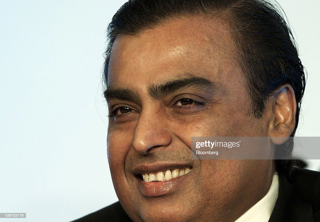 Mukesh D. Ambani, chairman of Reliance Industries Ltd., smiles during the Federation of Indian Chambers of Commerce and Industry (FICCI) Annual General Meeting, in New Delhi, India, on Tuesday, March 1, 2011. Ambani will speak at a three-day Institute of International Finance Conference starting March. 2, in New Delhi. Photographer: Pankaj Nangia/Bloomberg via Getty Images