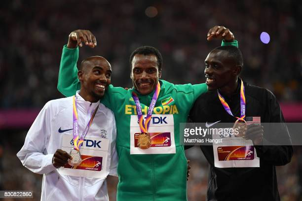Muktar Edris of Ethiopia gold Mohamed Farah of Great Britain silver and Paul Kipkemoi Chelimo of the United States bronze pose with their medials for...