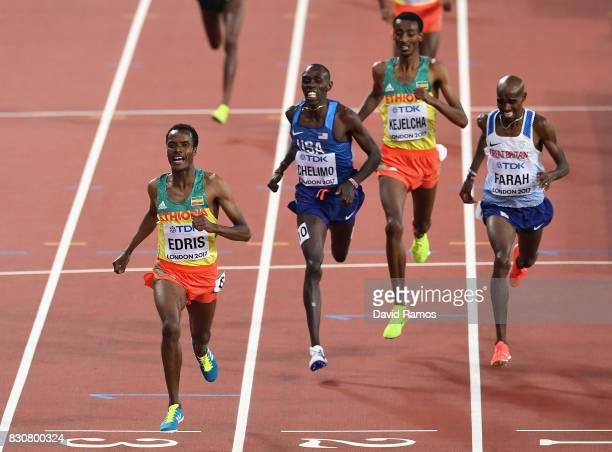 Muktar Edris of Ethiopia Mohamed Farah of Great Britain and Paul Kipkemoi Chelimo of the United States cross the finishline in the Men's 5000 Metres...