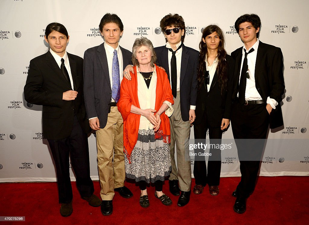 Mukunda Angulo Bhagavan Angulo Susanne Angulo Jagadisa Angulo Narayana Angulo and Govinda Angulo attend the premiere of 'The Wolfpack' during the...