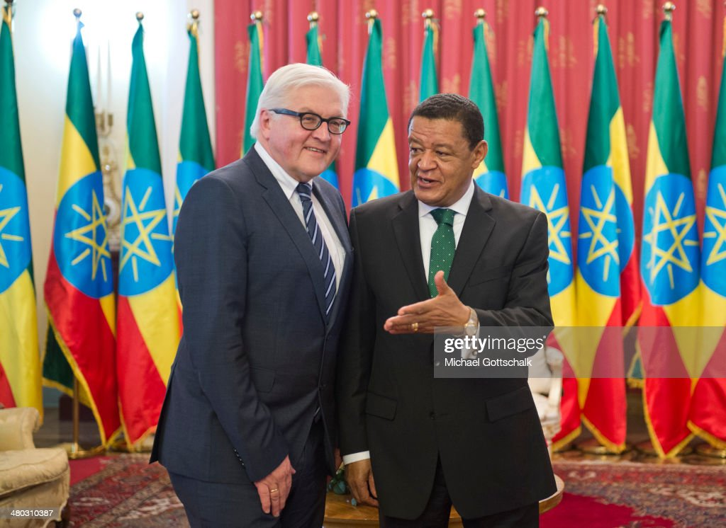 Mulatu Teshome, President of Ethiopia, and German Foreign Minister <a gi-track='captionPersonalityLinkClicked' href=/galleries/search?phrase=Frank-Walter+Steinmeier&family=editorial&specificpeople=603500 ng-click='$event.stopPropagation()'>Frank-Walter Steinmeier</a> (L) meet on March 24, 2014 in Addis Abeba, Ehiopia. Steinmeier visits Ethiopia, Tanzania and Angola during his trip to Africa.