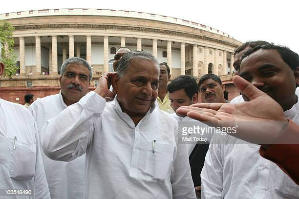 Mulayam Singh Yadav during the ongoing monsoon session at the Parliament house in New Delhi on August 19 2010