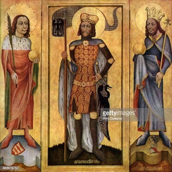 Mulhouse Altarpiece open c1385 St Vitus St Wenceslas and St Sigismund Found in the collection of The State Gallery Stuttgart A print from Gothic...