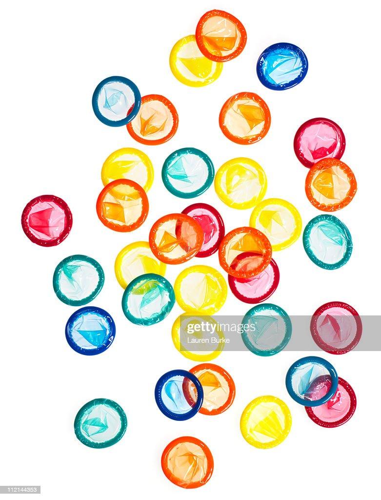 MulitColored condoms Backlit : Stock Photo