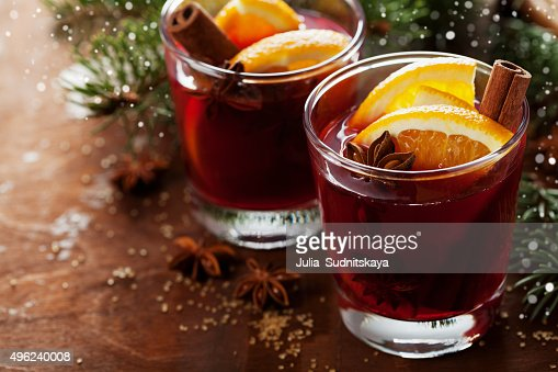 Mulled wine or gluhwein, alcohol beverage or cocktail : Stock Photo