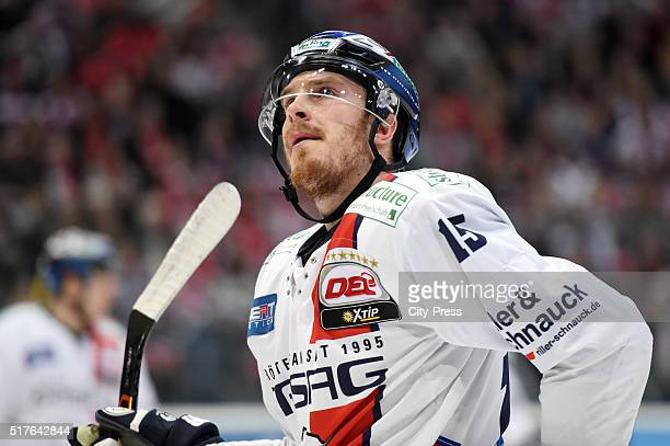 J Mulock of the Eisbaeren Berlin during the DEL playoff match between Koelner Haie and the Eisbaeren Berlin on March 26 2016 in Cologne Germany