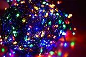 Closeup of a tangled multi color led string