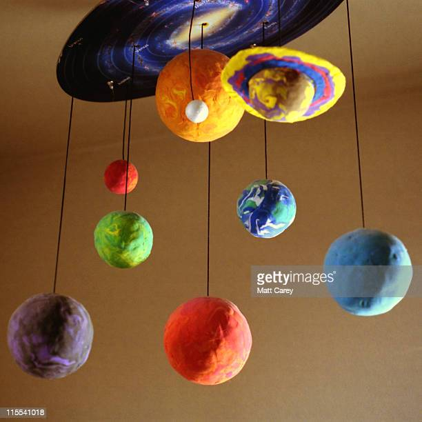 Multi colored clay model of solar system