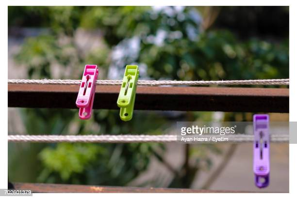 Multi Colored Clothespins On Rope