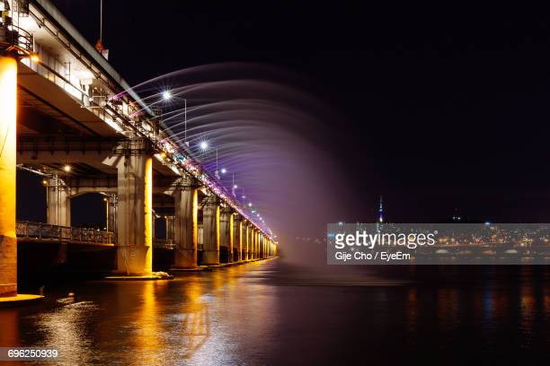 Multi Colored Fountain On Han River At Night