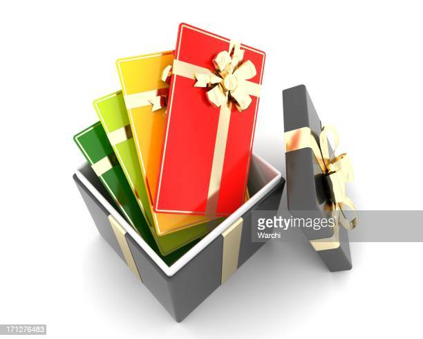 multi colored gift or discount cards