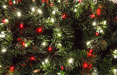 Green Christmas tree with multi colored lights in horizontal orientation with copy space.