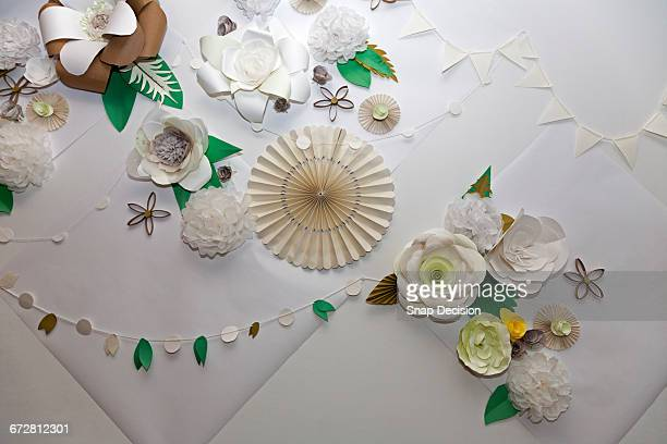 Multi Colored Paper Flowers and Garland Decoration
