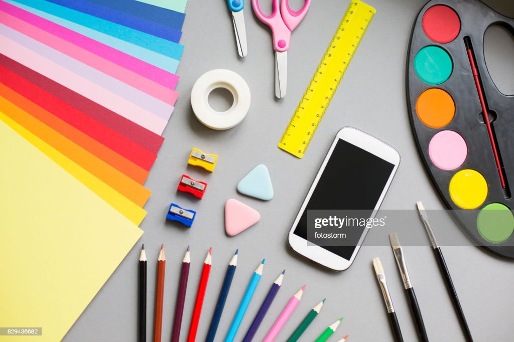 Multi colored school supplies : Stock Photo