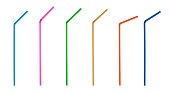 Multi colored straws isolated on white