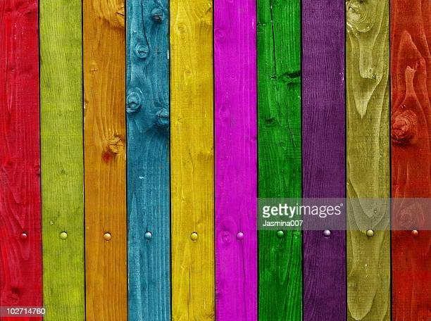 Multi colored wooden plank wall