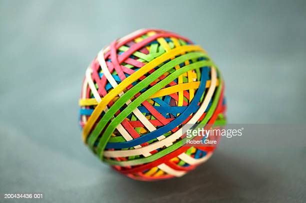Multi coloured ball of elastic bands, close-up