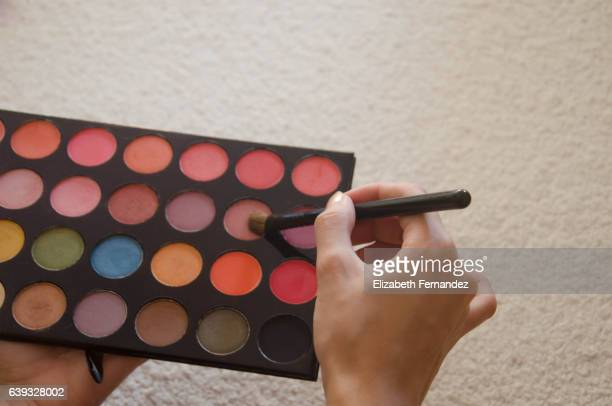 Multi coloured eye shadow palette and brus