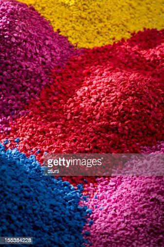 multi coloured heaps of moulding compounds
