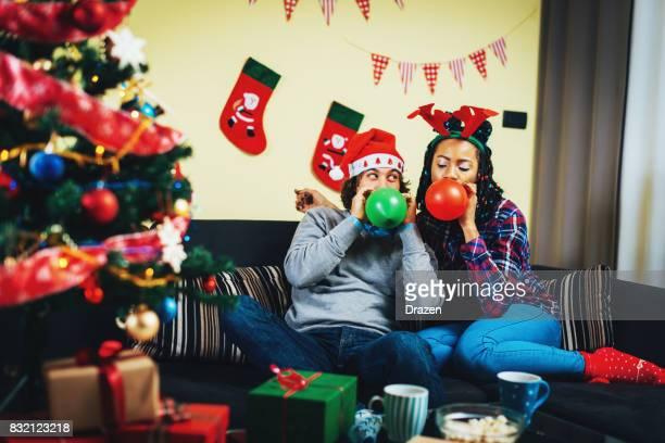 Multi ethnic couple in Germany celebrating Christmas