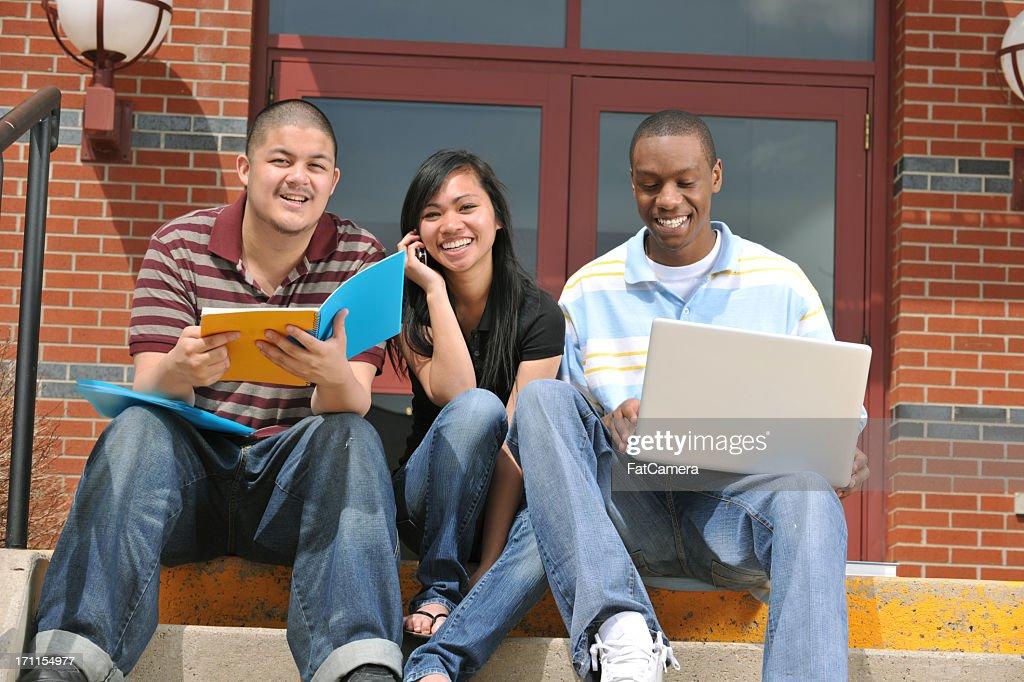 Multi ethnic group of students : Stock Photo