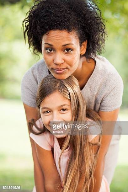 Multi Ethnic Mother and Daughter in the Park