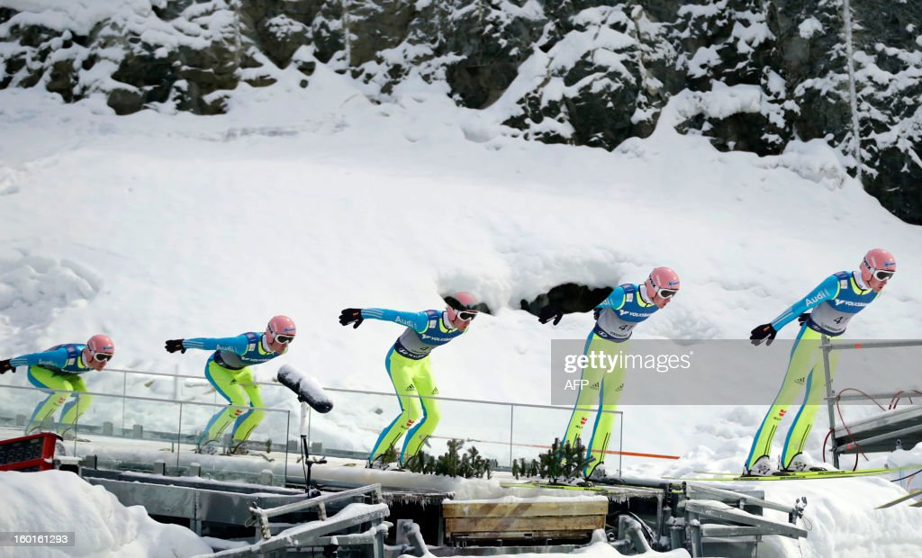 A multi exposure picture shows Germany's Severin Freund compete during the FIS Ski Jumping World Cup in Vikersund, Norway on January 27, 2013.