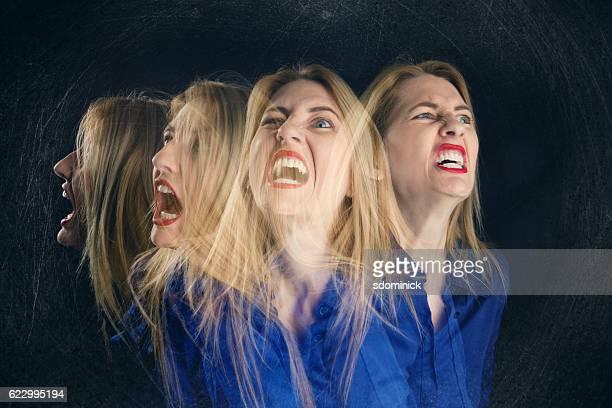 Multi Exposure Screaming Woman