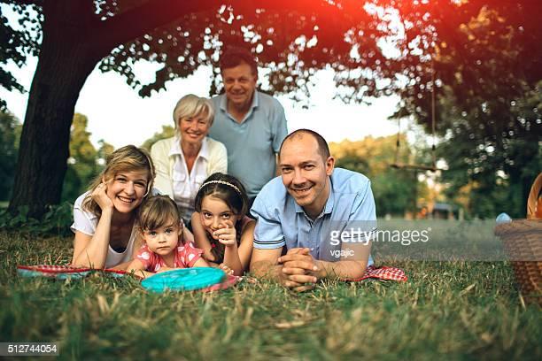 Multi Generation Family Picnic Group Portrait.