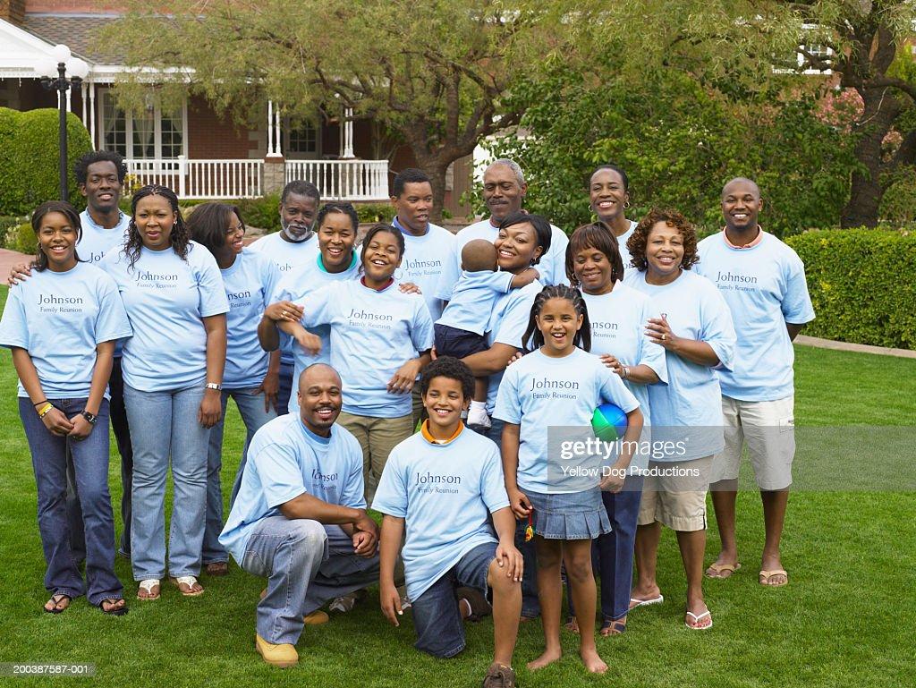 Multi generational family posing for reunion photo : Stock Photo