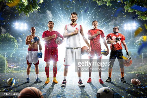 Multi sports collage boxing basketball soccer football volleyball : Stock-Foto