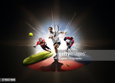 Multi sports collage from tennis hockey american footbal : Foto de stock
