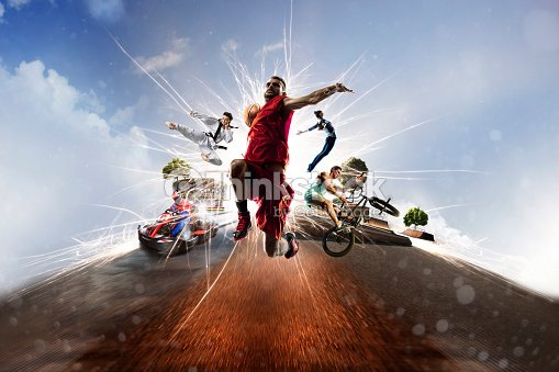Multi sports collage karting basketball bmx batut karate