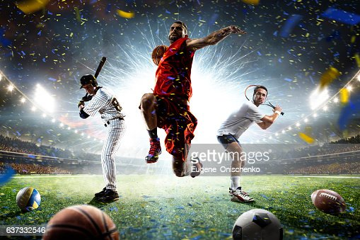 Multi sports players in action collage on grand arena : Stock Photo