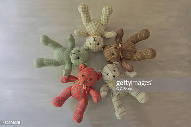 Multi striped fabric teddy bears