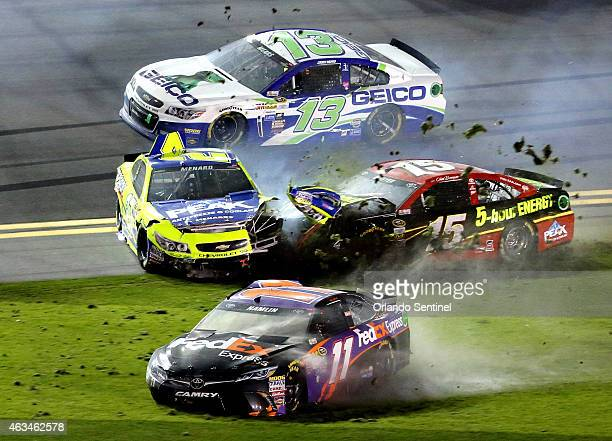 A multicar wreck during the Sprint Unlimited NASCAR Sprint Cup race at Daytona International Speedway on Saturday Feb 14 in Daytona Beach Fla