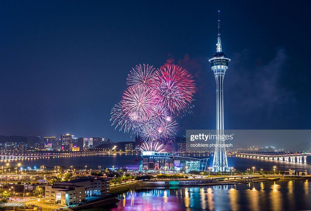 Multi-color fireworks in Macau