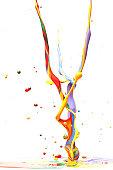 Multicolor Paint Splash Isolated on White